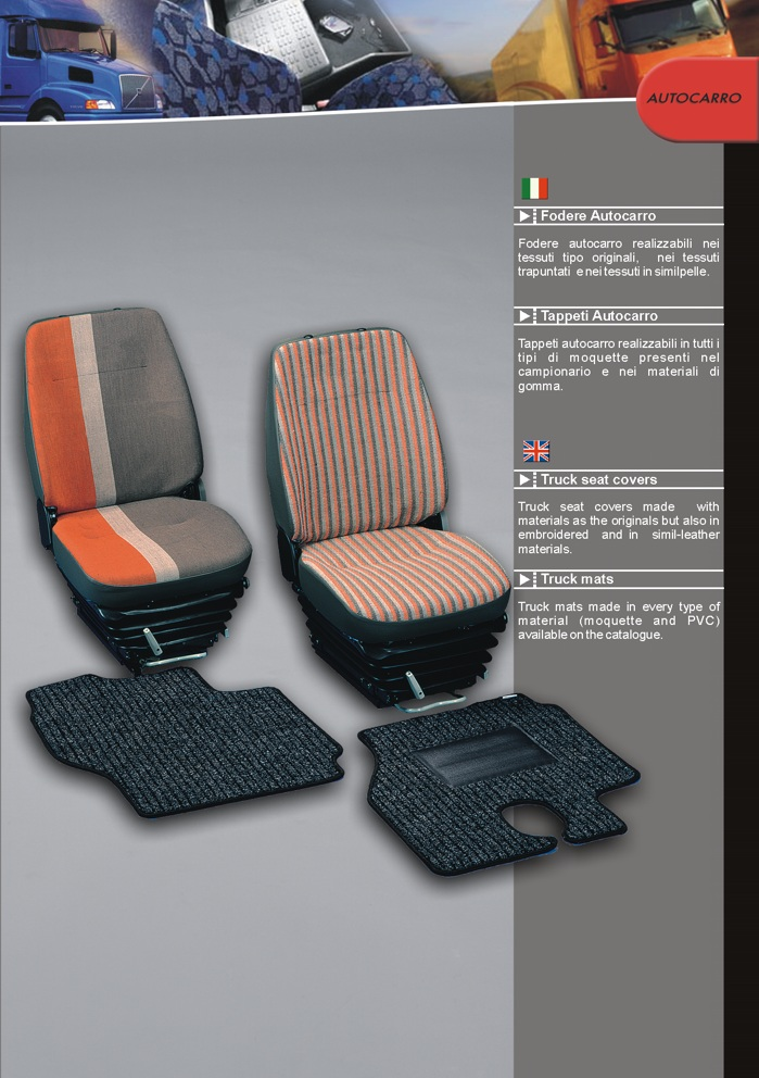 Seat covers and mats for trucks and all commercial vehicles by Prodotti Record Lucca Italy.